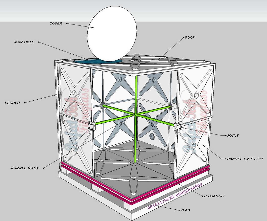 Fibreglass / FRP / GRP Sectional Water Tank